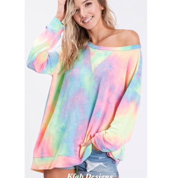 Tops - New! Tie dye French Terry Pull Over Front Stitch
